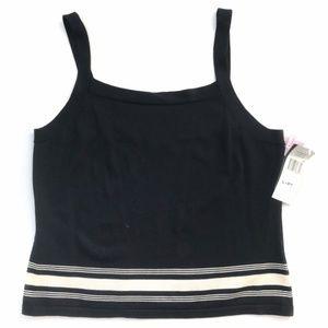 NWT Ralph Lauren Navy Striped Silk Sweater Tank LP